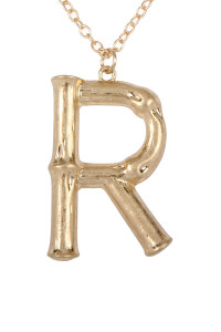 "S6-5-2-ATNE0415R - ""R"" CAST METAL BAMBOO ALPHABET NECKLACE WITH STUD EARRING SET/6SETS"