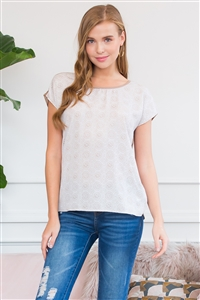 S10-20-4-TO15086-TP-1 - SHORT SLEEVE KEYHOLE PRINTED TOP- TAUPE 1-3-2