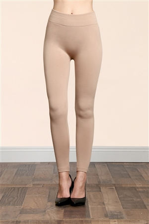 S14-3-4-TX700-BE BEIGE SOFRA SEAMLESS FOOTLESS FLEECE LEGGINGS/6PCS