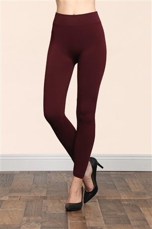 S14-2-1-TX700-BU BURGUNDY SOFRA SEAMLESS FOOTLESS FLEECE LEGGINGS/6PCS