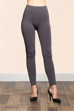 S14-3-4-TX700-CHCGR GREY SOFRA SEAMLESS FOOTLESS FLEECE LEGGINGS/6PCS