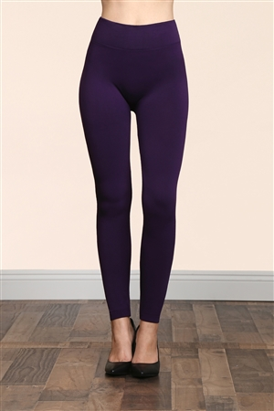 S14-2-2-TX700-DPU DARK PURPLE SOFRA SEAMLESS FOOTLESS FLEECE LEGGINGS/6PCS