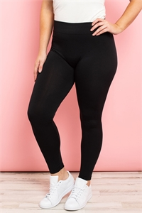 S11-3-1-TX700XBK BLACK PLUS SIZES SOFRA SEAMLESS FOOTLESS FLEECE LEGGINGS/6PCS