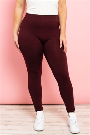 S11-3-1-TX700XBU BURGUNDY PLUS SIZES SOFRA SEAMLESS FOOTLESS FLEECE LEGGINGS/6PCS