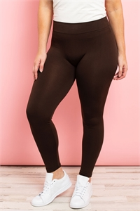 S11-4-2-TX700XCF COFFEE PLUS SIZES SOFRA SEAMLESS FOOTLESS FLEECE LEGGINGS/6PCS