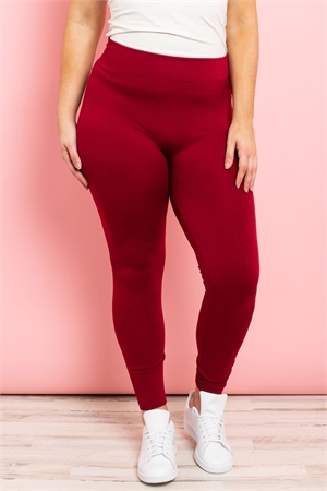 S11-3-1-TX700XDR -DARK RED PLUS SIZES SEAMLESS FOOTLESS FLEECE TIGHTS PLUS SIZE/6PCS