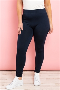 S11-3-1-TX700XNV NAVY PLUS SIZES SOFRA SEAMLESS FOOTLESS FLEECE LEGGINGS/6PCS