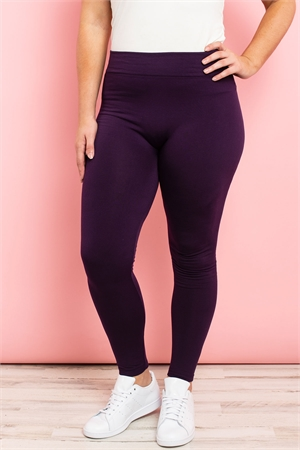 S11-3-1-TX700XPU DARK PURPLE PLUS SIZES SOFRA SEAMLESS FOOTLESS FLEECE LEGGINGS/6PCS