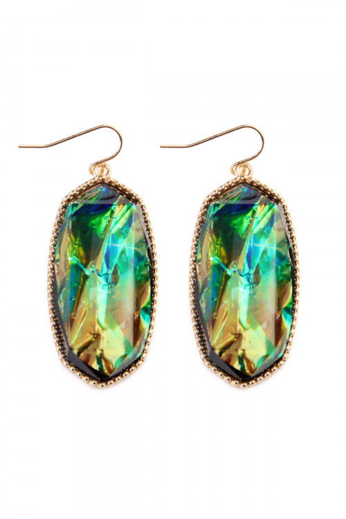 A1-1-4-AVE0709BKOP BLACK OPAL GEM CUT DROP EARRINGS/6PAIRS