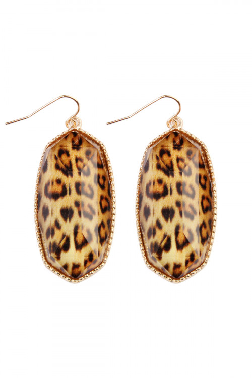 A1-1-4-AVE0709GDLEO LEOPARD GEM CUT DROP EARRINGS/6PAIRS