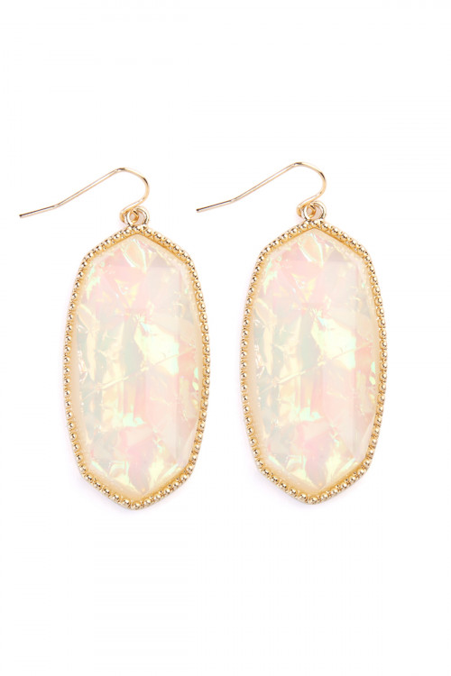 A1-1-4-AVE0709IVOP IVORY OPAL GEM CUT DROP EARRINGS/6PAIRS