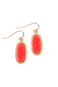 S6-5-2-AVE1442GDRD - DRUZY STONE OVAL EARRINGS- RED/6PCS