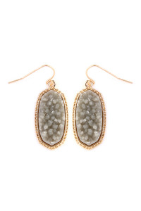 S4-5-2-AVE1549GDGY-DRUZY SMALL DROP EARRINGS - GRAY/6PCS