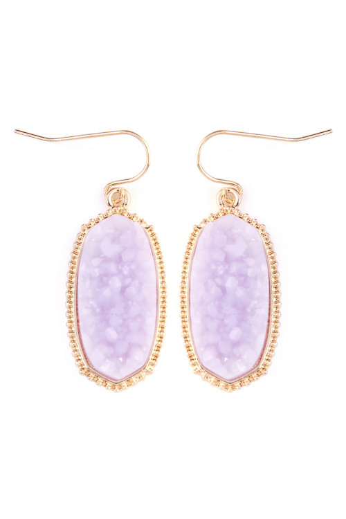 A2-1-3-AVE1549GDLV- DRUZY SMALL DROP EARRINGS - LAVENDER/6PCS