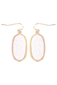 S4-6-3-AVE1549GDWT- DRUZY SMALL DROP EARRINGS - WHITE/6PCS