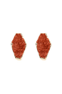 S7-4-3-AVE1844GDNT NATURAL GEOMETRIC SHAPE DRUZY STONE POST/ STUD EARRINGS/6PAIRS