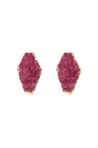 S7-5-3-AVE1844GDPU PURPLE GEOMETRIC SHAPE DRUZY STONE POST/ STUD EARRINGS/6PAIRS