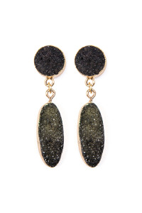 S6-5-4-AVE1847GDBK BLACK OVAL DRUZY POST DROP EARRINGS/6PAIRS