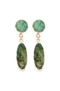 S6-5-4-AVE1847GDGR GREEN OVAL DRUZY POST DROP EARRINGS/6PAIRS