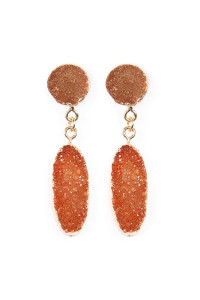 S7-5-3-AVE1847GDNT NATURAL OVAL DRUZY POST DROP EARRINGS/6PAIRS