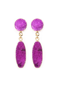 S65-2-AVE1847GDPU PURPLE OVAL DRUZY POST DROP EARRINGS/6PAIRS