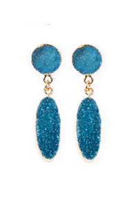 S6-5-2-AVE1847GDTL TEAL OVAL DRUZY POST DROP EARRINGS/6PAIRS