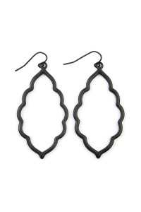 SA4-3-3-AVE2055BK BLACK MOROCCAN CUTOUT EARRINGS/6PAIRS