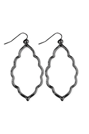 S6-6-3-AVE2055HE HEMATITE MOROCCAN CUTOUT EARRINGS/6PAIRS