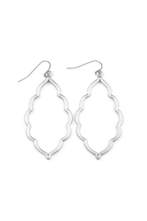 S6-4-3-AVE2055WS MATTE SILVER MOROCCAN CUTOUT EARRINGS/6PAIRS