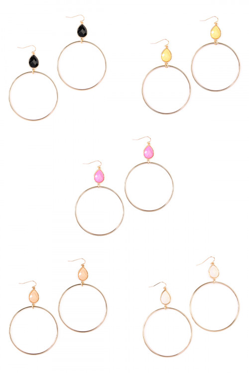 A2-2-3-AVE2117MIX2 ASSORTED HOOPED TEARDROP HOOK EARRING/6PAIRS