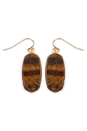SA3-3-4-AVE2128GDTG BROWN MINI NATURAL STONE EARRING/6PAIRS