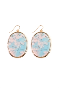 S4-4-2-AVE2216GDAQWT AQUA WHITE FACETED OVAL SHAPE MARBLE EARRINGS/6PAIRS