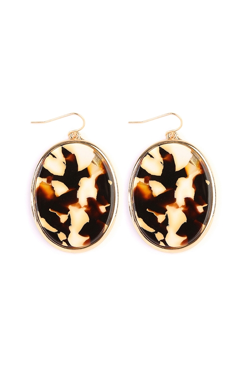 A2-1-3-AVE2216GDIVBR IVORY BROWN FACETED OVAL SHAPE MARBLE EARRINGS/6PAIRS