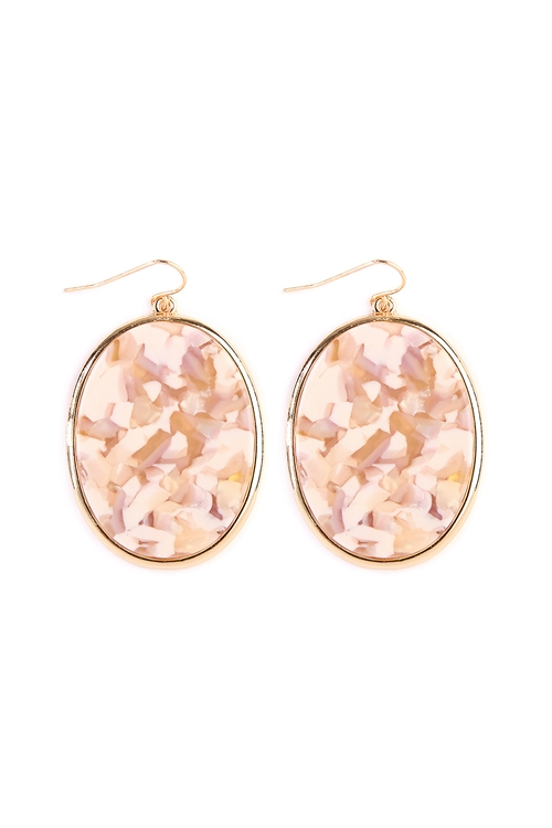 A3-2-4-AVE2216GDIVLV IVORY LAVENDER FACETED OVAL SHAPE MARBLE EARRINGS/6PAIRS