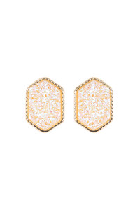 S7-5-2-AVE2334GDAB GOLD IRIDESCENT WHITE DRUZY HEXAGON POST EARRINGS/6PAIRS
