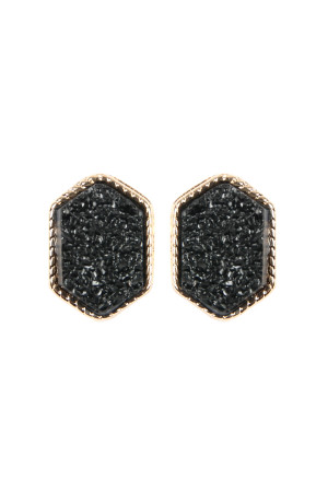 S7-6-2-AVE2334GDBK GOLD BLACK DRUZY HEXAGON POST EARRINGS/6PAIRS