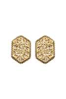 S22-9-2-VE2334GDGD - DRUZY HEXAGON POST EARRINGS - GOLD/6PCS