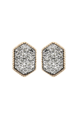 S5-4-3-AVE2334GDHE GOLD HEMATITE DRUZY HEXAGON POST EARRINGS/6PAIRS