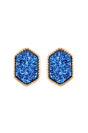 S7-5-2-AVE2334GDMBL GOLD MONTANA BLUE DRUZY HEXAGON POST EARRINGS/6PAIRS