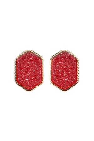 S7-5-2-AVE2334GDRD GOLD RED DRUZY HEXAGON POST EARRINGS/6PAIRS