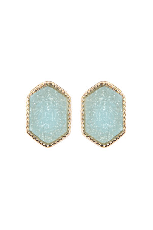 S6-5-2-AVE2334GDTQ TURQUISE DRUZY HEXAGON POST EARRING/6PAIRS