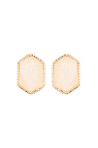 S7-5-2-AVE2334GDWT GOLD WHITE DRUZY HEXAGON POST EARRINGS/6PAIRS
