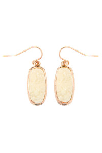 S7-6-2-AVE2371GDIV GOLD IVORY 1 inch FACETED DRUZY HOOK EARRINGS/6PAIRS