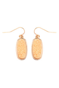 S7-6-2-AVE2371GDPE GOLD PEACH 1 inch FACETED DRUZY HOOK EARRINGS/6PAIRS