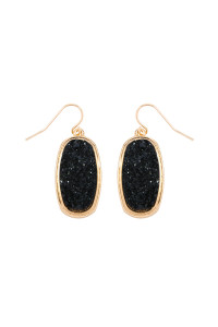 S7-4-4-AVE2372GDBK - BLACK 1.25 inches OVAL DRUZY HOOK EARRINGS/6PAIRS