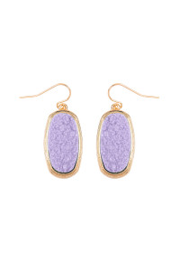 S7-4-4-AVE2372GDLV - LAVENDER 1.25 inches OVAL DRUZY HOOK EARRINGS/6PAIRS