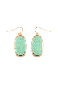 S7-4-3-AVE2372GDMN - MINT 1.25 inches OVAL DRUZY HOOK EARRINGS/6PAIRS