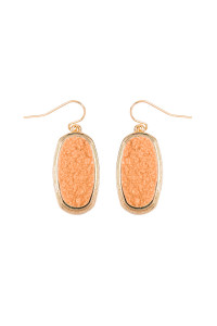 S5-4-2-AVE2372GDPE - PEACH 1.25 inches OVAL DRUZY HOOK EARRINGS/6PAIRS