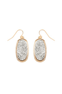 S7-4-4-AVE2372GDSV - SILVER 1.25 inches OVAL DRUZY HOOK EARRINGS/6PAIRS