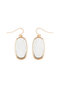 S7-4-4-AVE2372GDWT - WHITE 1.25 inches OVAL DRUZY HOOK EARRINGS/6PAIRS